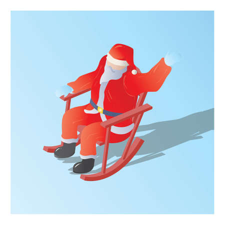 isometric of a santa claus sitting on a rocking chair