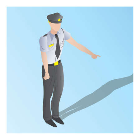 isometric of a security guard Çizim