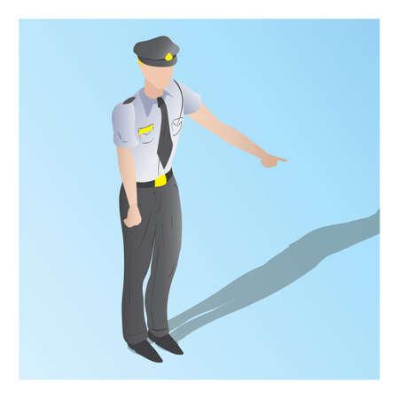 isometric of a security guard Иллюстрация
