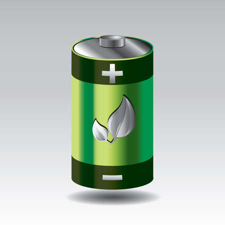 battery with leaf Illustration