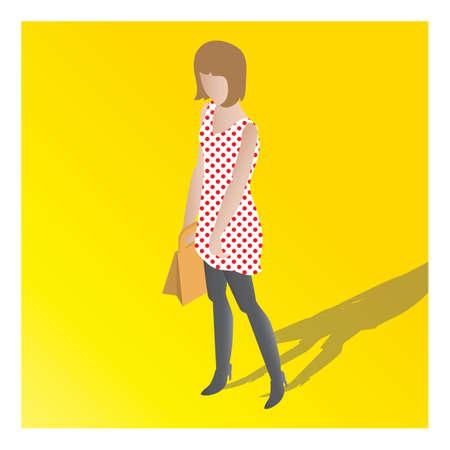 isometric of a woman Illusztráció