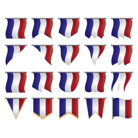 set of france flag pennants Ilustrace