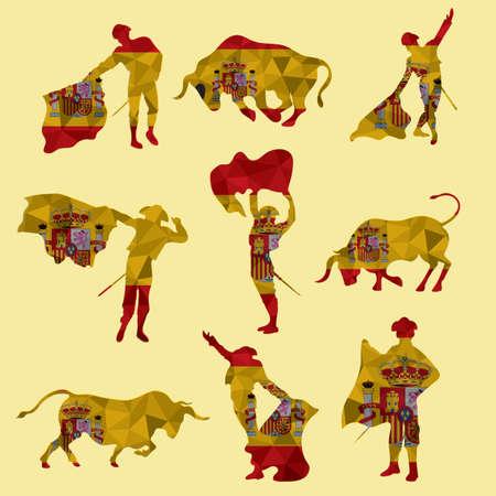 set of bullfighting icons  イラスト・ベクター素材