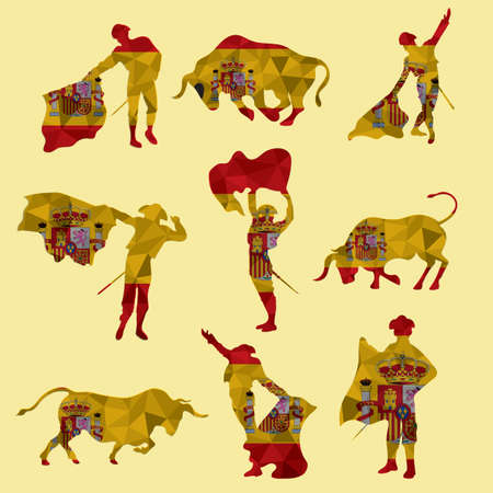 set of bullfighting icons 矢量图像