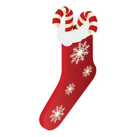 christmas sock with candy sticks