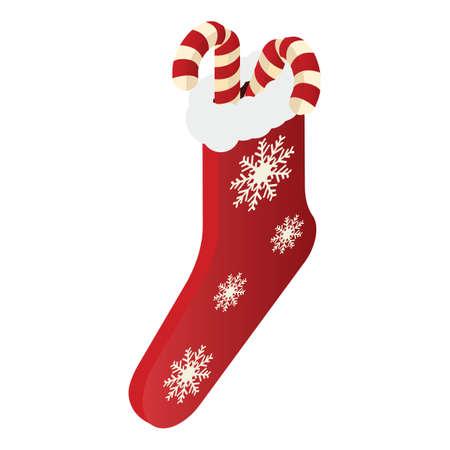 Weihnachtssocke mit Zuckerstangen Vektorgrafik