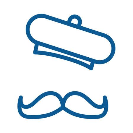 beret hat and beard Illustration