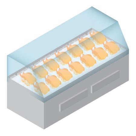 冷蔵庫に鶏の刺身  イラスト・ベクター素材