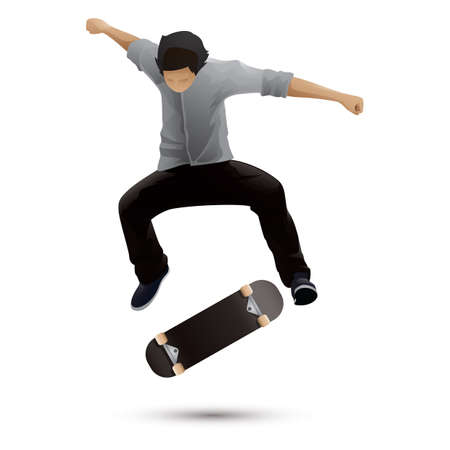 jongen skateboarden Stock Illustratie