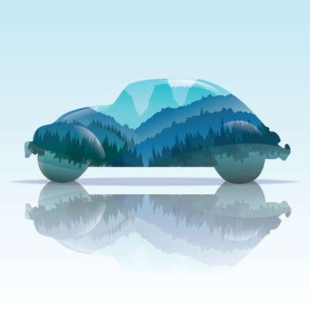 車と自然の二重露光