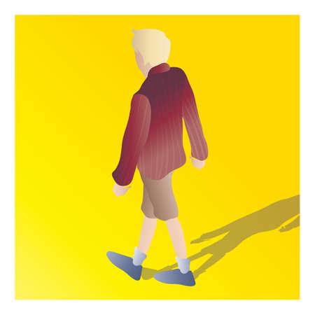 少年の等尺性  イラスト・ベクター素材
