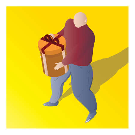 isometric of a man holding gift box Illustration