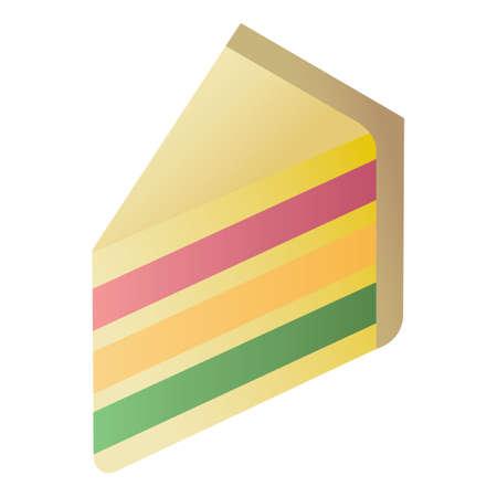 rainbow layer cake slice Ilustração