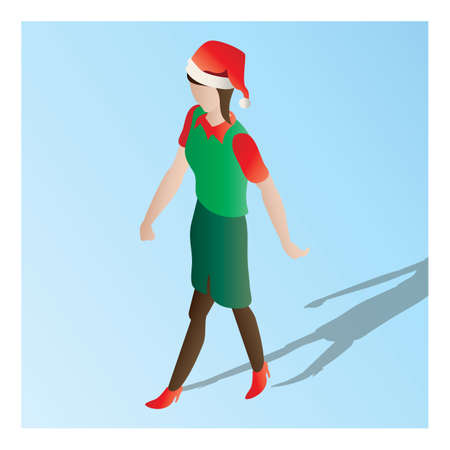 isometric of a supermarket female staff Illustration
