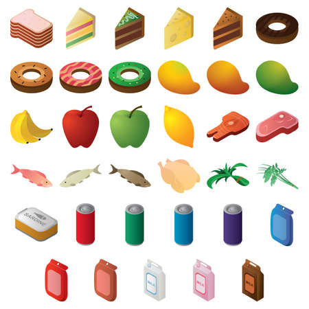 set of food items Illustration