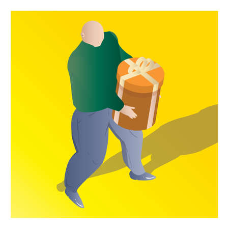 isometric of a man holding gift box Çizim