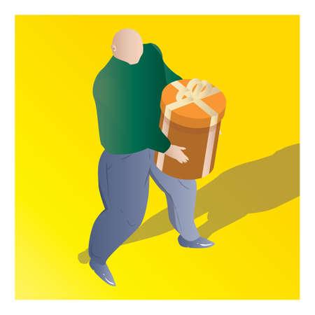 isometrisch van een man met geschenkdoos
