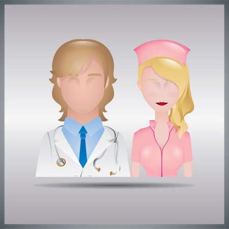 doctor and nurse Иллюстрация