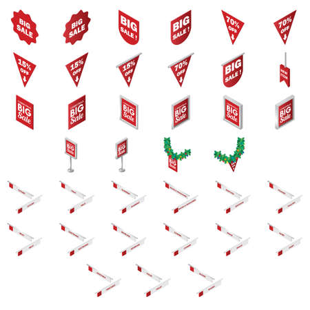 set of sale tags and signboards