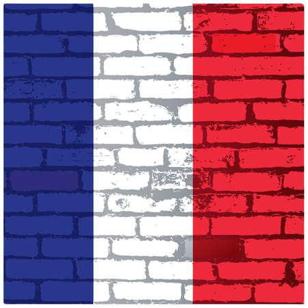 フランス国旗レンガ背景  イラスト・ベクター素材