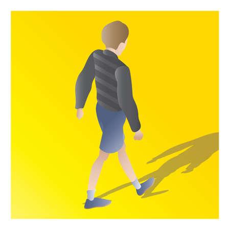 isometric boy Illustration