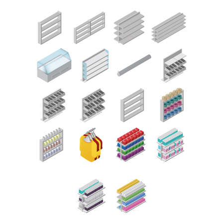 set of supermarket racks Illustration