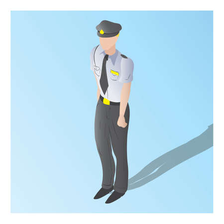 isometric of a security guard Illustration