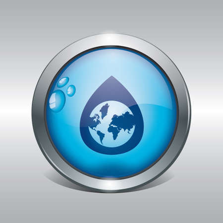 globe in water drop icon