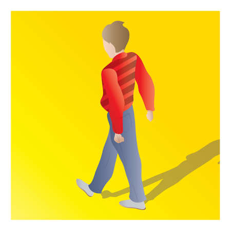 backview: isometric of a man Illustration