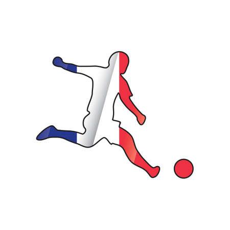 Jugador de fútbol goteando bola Foto de archivo - 81485303