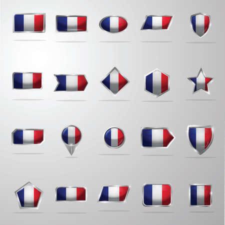 Set van vlaggen van Frankrijk Stock Illustratie