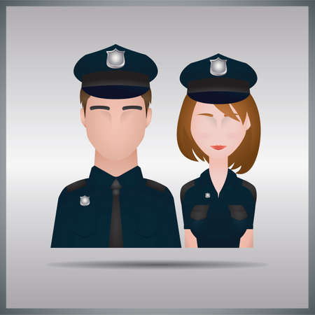 policeman and policewoman Stock Illustratie