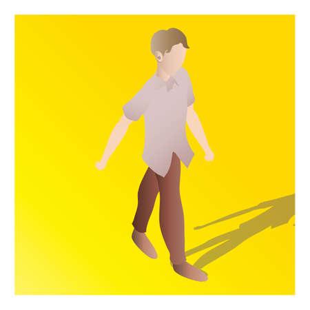 isometric of a man Ilustração