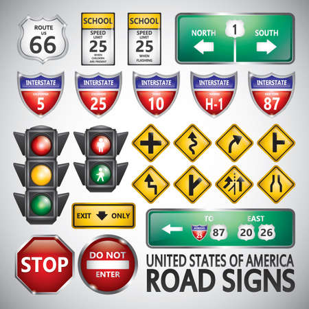 the roadside: set of road signs