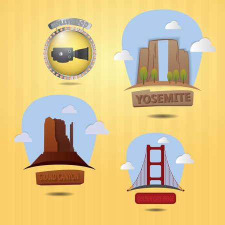 set of usa landmarks