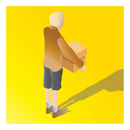 isometric of a boy holding carton