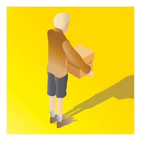 isometrisch van een doos van de jongensholding