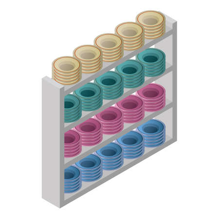 racks with plates 向量圖像