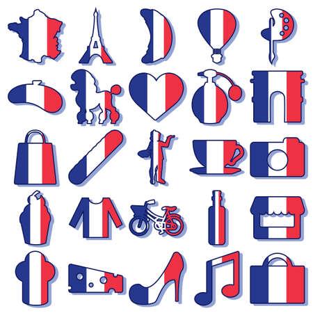 set van Frankrijk iconen Stock Illustratie