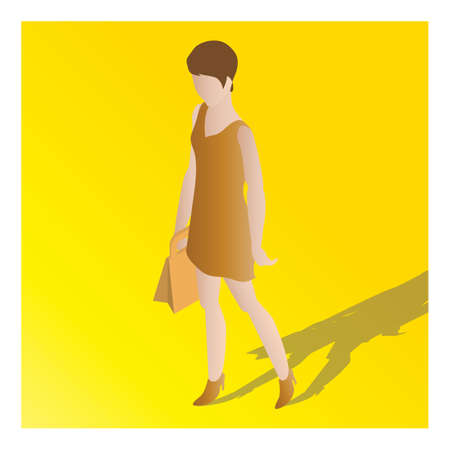 isometric of a woman Illustration