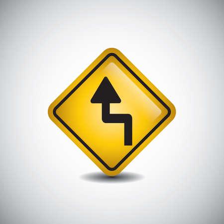 left reverse curve road sign