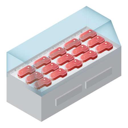 冷蔵庫に新鮮な肉  イラスト・ベクター素材