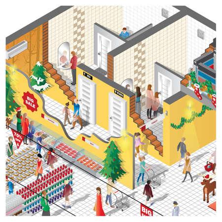 mujer en el supermercado: isometric of a shopping mall Vectores