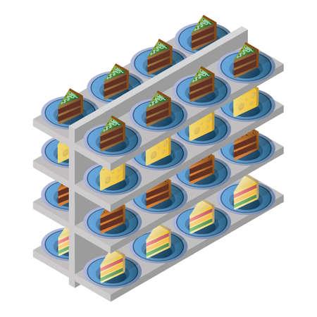 racks with bakery items Illustration