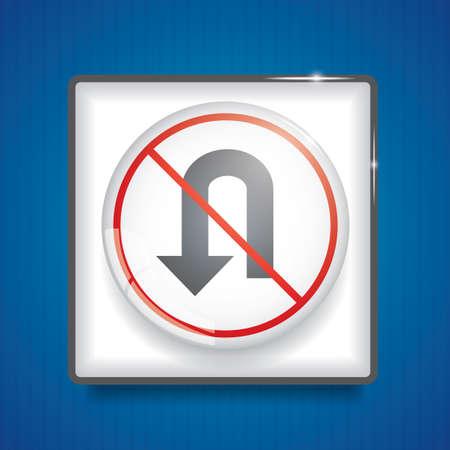 no u-turn sign Illustration