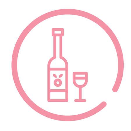 wijnfles en glas Stock Illustratie