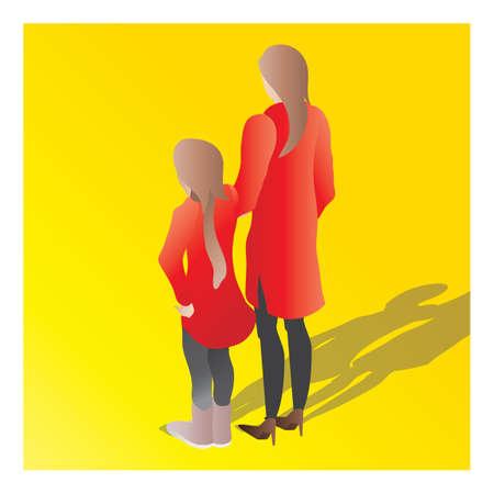 isometrisch van een moeder en een dochter Stock Illustratie