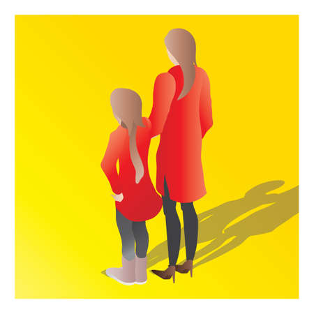 isometric of a mother and daughter Illustration
