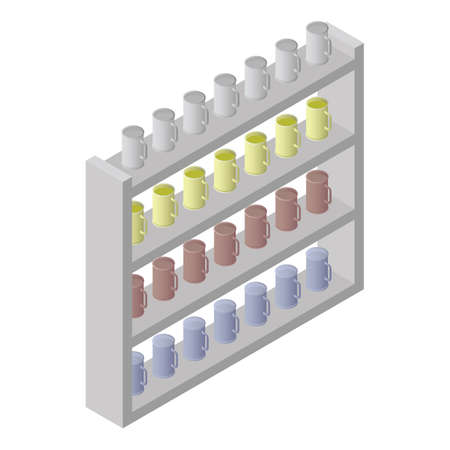 racks with mugs Illustration
