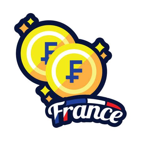 france coins Ilustracja